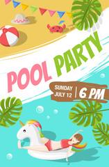 Pool Strand Party Vektor Illustration Einladung Poster Plakat
