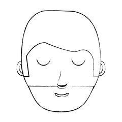 sketch of cartoon man with beard over white background, vector illustration