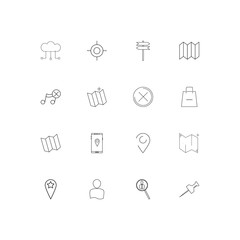 Maps And Navigation simple linear icons set. Outlined vector icons