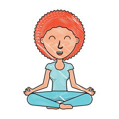 cartoon yogi woman practicing yoga over white background, colorful design. vector illustration