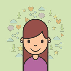 portrait happy girl and social media icons vector illustration