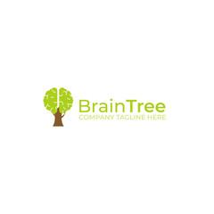 Green tree brain creative logo. Logotype concept. Education and human mind