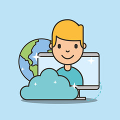 young boy on computer screen social media cloud global vector illustration