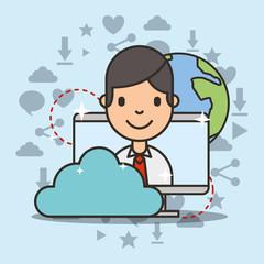 young boy on computer screen cloud computing social media vector illustration
