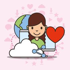 cute girl on computer screen cloud share love world social media vector illustration