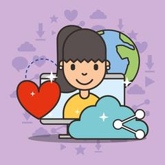 cute girl on computer screen share love cloud social media vector illustration
