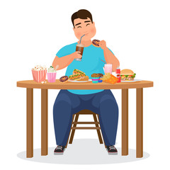 Funny fat obese man eating hamburger fast food. Vector Illustration.