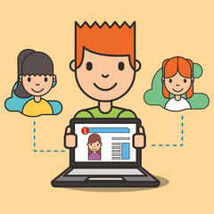 cartoon boy with laptop website girl on screen chatting vector illustration