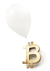 Isolated bitcoin symbol with white balloon.