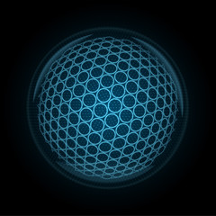 Vector image of a golf ball made of glowing lines, points and polygons