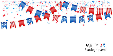 Bunting party flags with confetti for american independence day.