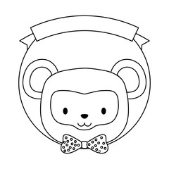emblem of cute animals concept with decorative ribbon and cute monkey icon over white background, vector illustration
