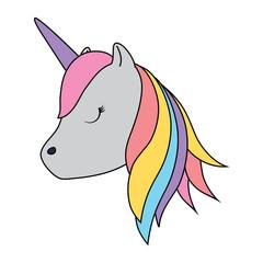 cute unicorn icon over white background, colorful design. vector illustration