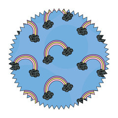 seal stamp with rainbow and clouds design over white background, colorful design. vector illustration