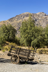 old wood wagon in a farm in the andes mountain range