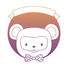 emblem of cute animals concept with decorative ribbon and cute monkey icon over white background, colorful design. vector illustration