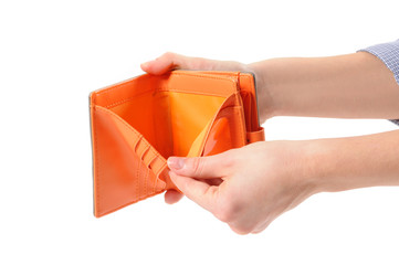 Woman hand open an empty wallet
