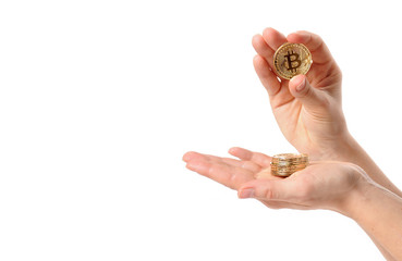 Cryptocurrency golden bitcoin. Electronic virtual money