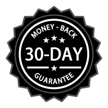Money back with a thirty day guarantee label on white