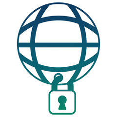 cyber security global connection technology vector illustration