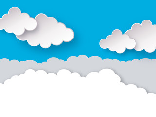 Clouds. Blue sky with clouds paper art or origami style vector illustration