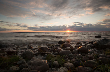 Sunset over the baltic ocean after a summers day, southern of sweden