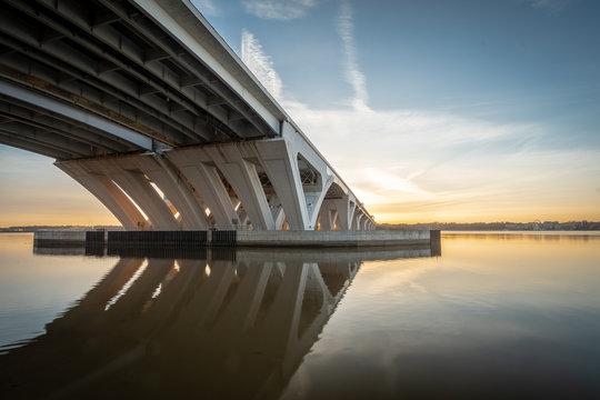 Woodrow Wilson Bridge Overlooking Potomac River in Alexandria Virginia at Sunrise
