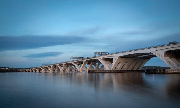 Woodrow Wilson Bridge View from Alexandria, Virginia at Blue Hour