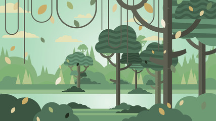 Fotorolgordijn Khaki Green forest silhouette nature landscape abstract background flat design.Vector illustration.