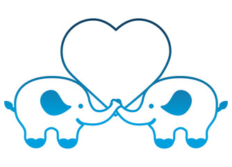 pair of elephants with love heart vector illustration degraded color
