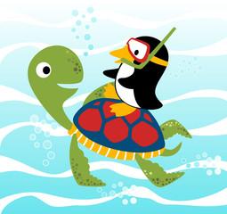 Turtle and penguin under blue sea, vector cartoon illustration