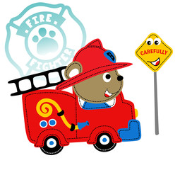 Funny fire rescue, vector cartoon illustration
