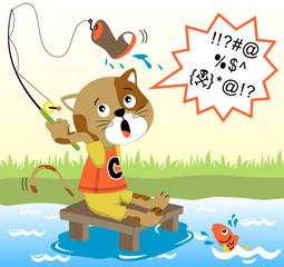 Cat fishing time, vector cartoon illustration