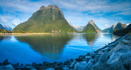 Serene Morning at Milford Sound in Fiordland National Park, New Zealand, South Island.
