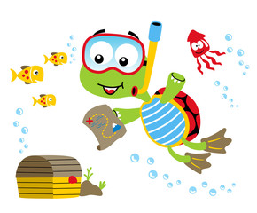 finding treasure under sea with turtle and friends, vector cartoon illustration
