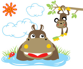 hippopotamus bath time with monkey in the swamp at summer, vector cartoon illustration