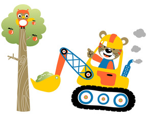 construction equipment acrtoon with funny animals and tree, vector cartoon illustration