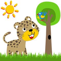 leopard with bird on a tree at summer, vector cartoon illustration