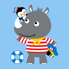 Nice rhino and penguin cartoon the sailors