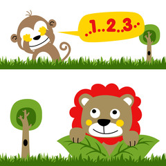 playing hide and seek in jungle with monkey and lion, vector cartoon illustration