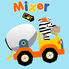 zebra drive a mix truck, vector cartoon illustration