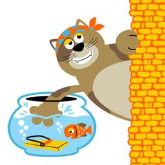 fish trap for bad cat, funny animals cartoon, vector cartoon illustration
