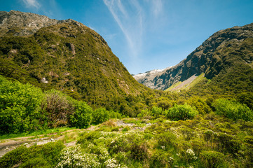 Gertrude Valley Lookout, a scenic stopover on the road to Milford Sound in Fiordland National Park, New Zealand, South Island.
