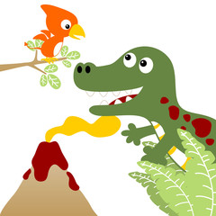 Dinosaurs live with volcano on white background, vector cartoon illustration
