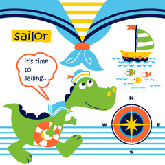 dinosaurs the funny sailor with sailing equipment, vector cartoon illustration
