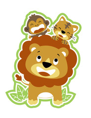 lion and friends, monkey, tiger, vector cartoon illustration