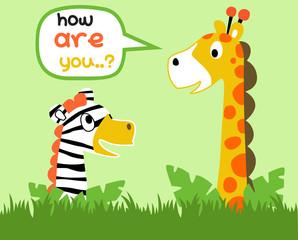 giraffe and zebra are best friend, vector cartoon illustration
