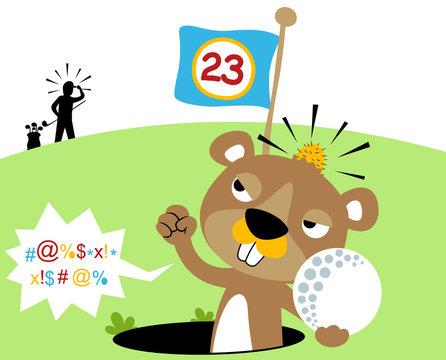 funny angry mole in golf hole, vector cartoon illustration