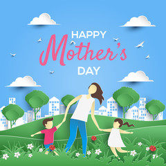 mother's day greeting card with paper art style
