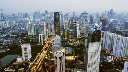 Beautiful aerial Jakarta cityscape